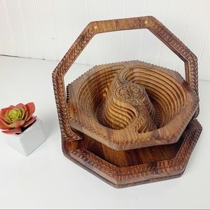 Hand Carved Collapsable Wooden Basket